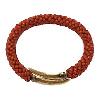 Antique Victorian 14K Yellow Gold Woven Salmon Red Coral Beaded Bracelet