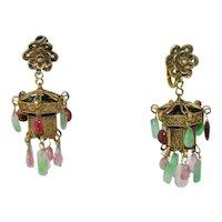 Antique Chinese Art Deco Gold Gilt Silver Filigree Green Jadeite Jade Pink Tourmaline Lantern Earrings Screw Backs