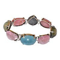 VIntage Sterling Silver Jumbo Natural Blue green and Pink Tourmaline Linked Bracelet Hall Marked