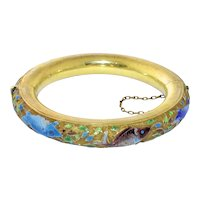 Intriguing Antique Art Deco Chinese Gold Gilt Silver Enamel Enameled Koi Fish Bangle Hinged Bracelet