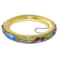 Intriguing Antique Art Deco Chinese Gold Gilt Silver Enamel Enameled Koi Fish Bangle Hinged Bracelet