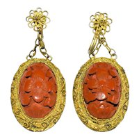 Antique Art Deco Chinese Gold Gilt Metal Filigree Carved Red Cinnabar Flower Floral Earrings Screw Backs