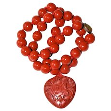 Vintage Chinese Carved Red Cinnabar Heart Shape Pendant Necklace