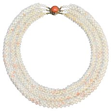 Vintage 3 Strand Woven Angel Skin White Coral Beaded Necklace with Gold Gilt Silver Filigree Salmon Red Coral Clasp