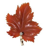 Vintage 14K Yellow Gold Carved Pema Raka Carnelian Diamond Maple Leaf Brooch