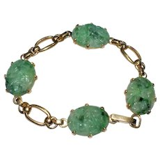 Antique Art Deco Chinese 14K Yellow Gold Carved Apple Green Jadeite Jade Floral Flower Bracelet