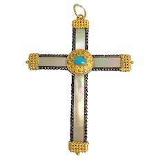 Enchanting Antique Victorian Etruscan 18K Yellow Gold Persian Turquoise Topaz Mother of Pearl Cross Pendant