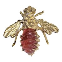 Vintage 14K Yellow Gold Carved Pink Rubellite Tourmaline Bee Brooch Pin