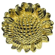 Fine 14K Yellow Gold Sunflower Ring Finger Size 7