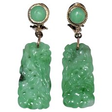 Antique Art Deco 14K Yellow Gold Chinese Carved Floral Apple Green Jadeite Jade Earrings with Clips