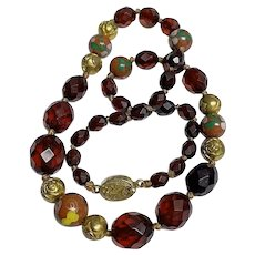 Vintage Cherry Amber Bakelite Chinese  Cloisonne Beaded Necklace with Chinese Gold Gilt Silver Filigree Clasp