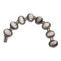 Fine European Vintage Silver Carved Mother of Pearl Cameo Bracelet