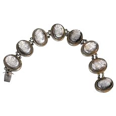 Fine European Vintage Silver Carved Mother of Pearl Cameo Bracelet