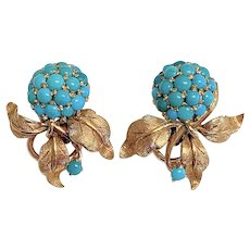 Enchanting Vintage Italian 18K Yellow Gold Persian Turquoise Earrings