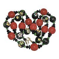 Vintage Chinese Carved Cinnabar and cloisonne with Onyx Beaded Necklace