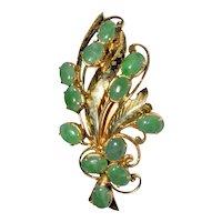 Vintage Chinese Gold Gilt Silver Rich Apple Green Jadeite Jade Brooch