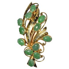 Vintage Chinese Gold Gilt Silver Rich Apple Green Jadeite Jade Brooch