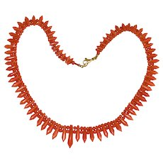 Antique Victorian 14K Yellow Gold Salmon Red Coral Necklace