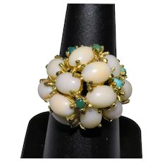 Vintage 14K Yellow Gold Angel Skin Pink Coral Turquoise Cluster Ring