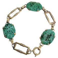 Adorable Antique Art Deco Chinese 14K Yellow Gold Carved Green Jadeite Jade Bracelet Signed