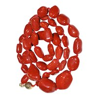 Vintage 14K Gold Natural Mediterranean Dark Red Oxblood Red Coral Baroque Beaded Necklace 57 Grams