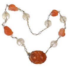 Antique Art Deco Chinese Sterling Silver Carved Carnelian Agate Floral Pendant Carnelian Monkey Rock Crystal Bead Necklace