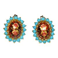 Enchanting Fine Vintage Italian 18K Yellow Gold Enamel Persian Turquoise Rose Flower Floral Earrings with Posts