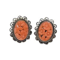 Antique Art Deco Gold Gilt Silver Filigree Carved Salmon Red Coral Floral Flower Earrings with Posts