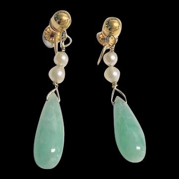A Pair of Fine Vintage 14K Yellow Gold Cultured White Pearl Apple Green Jadeite Jade Drop Earrings