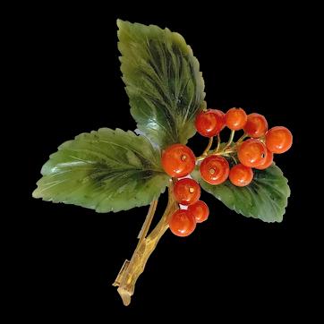 Enchanting Vintage Large Austrian 14K Yellow Gold Carved Green Jadeite Jade Leaf Red Coral Floral Brooch