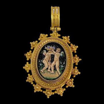 Antique Superb Victorian Etruscan 18K Yellow Gold Micro Mosaic Angel Pendant