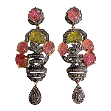 Antique Style Gold Vermeer Silver Old Mine Cut Diamonds with Carved Green Pink Tourmaline leaf Flower Dangling Earrings with Posts