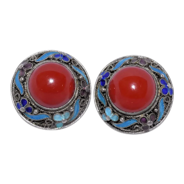 Antique Art Deco Chinese Silver Filigree Enamel Oxblood Red Coral Aka Red Coral Earrings with Clips