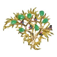 Enchanting Large Vintage Chinese 14K Yellow Gold Green Jadeite Jade Sapphire Ruby Tree Brooch 34 grams