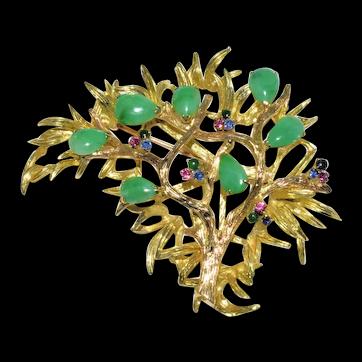 Enchanting Large Vintage Chinese 14K Yellow Gold Green Jadeite Jade Sapphire Ruby Tree Brooch 34 grams