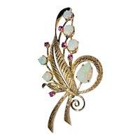 Vintage 14K Yellow Gold Natural Australian Opal Rubies Flower Bouquet Brooch