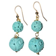 Vintage Chinese Carved Turquoise Earrings With Crouching Dragon and Sho Symbols