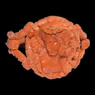 Magnificent Antique Victorian 14K Gold Carved Coral Cameo Bracelet Depicting Dionysus (Bacchus) 62.62 Grams