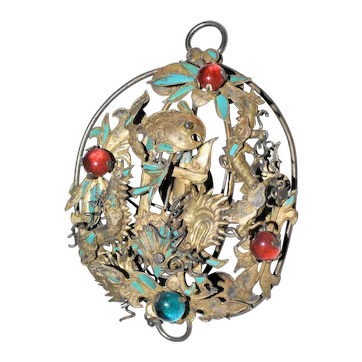 Antique Chinese Gold Gilded Silver Kingfisher Feather Dragon Koi Fish Flower Peking Glass Hair Ornament