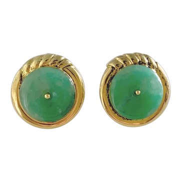 Vintage Chinese 14K Yellow Gold Bright Apple Green Jadeite Jade Earrings with Clasps
