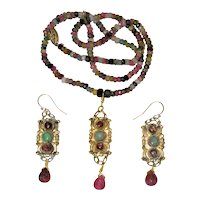 Antique Chinese Gold Gilt Metal Fuchsia Pink Tourmaline Green Jade Pendant Necklace Earrings Set