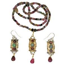 Antique Chinese Gold Gilt Metal Fuchsia Pink Tourmaline Green Jade Pendant Necklace Earrings Set