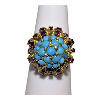 Exquisite Vintage 18K Yellow Gold Ruby Turquoise Cluster Ring Signed 288AL
