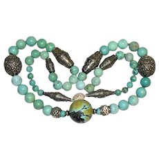 Vintage Chinese Jumbo Large Size 205 Grams Sterling Silver Turquoise Beaded Necklace