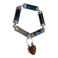Antique Victorian Sterling Silver Scottish Agate Bracelet with Padlock Clasp