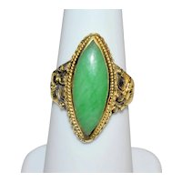 Antique Art Deco 18K Yellow Gold Repousse Marquise Shape Apple Emerald Green Jadeite Jade Ring Size 6