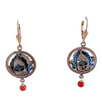 Vintage Chinese Silver Enameled Salmon Red Coral Dangling Earrings Lotus Flower Scene with 14k Gold-filled Lever Backs