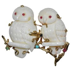 Vintage Large 14K Yellow Gold Carved Angel Skin Coral Double Owls Brooch with Ruby Pink Tourmaline Turquoise Emerald Sapphire