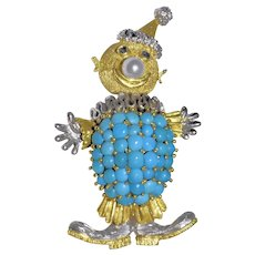 Lovely Vintage 18K Yellow Gold and 18K White Gold Sleeping Beauty Blue Turquoise Culture Pearl Sapphire Clown Brooch