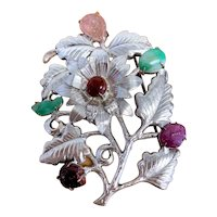 Antique Art Deco Chinese Silver Fuchsia Pink Tourmaline and Apple Green Jadeite Jade Floral Flower Brooch